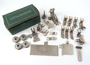Vintage Lot of Greist Sewing Machine Attachments Parts Hemmers Binder Ruffler