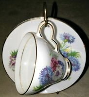 Clare Bone China Floral Tea Cup and Saucer Set, Made in England vintage