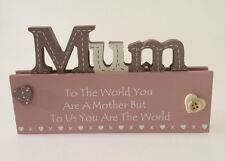 SHABBY WOODEN CHIC Sign Plaque ~ MUM ~ Freestanding Mother Mummy