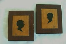 Miniature Hand Painted Silhouette Portrait Profiles Mounted on Wood Signed