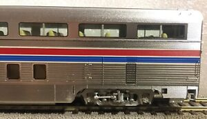 Metal Plated AMTRAK Phase II 85' Budd Hi-Level 68-Seat Step-Down Coach - Lighted