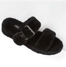 UGG Women's Black FUZZ YEAH Shearling Slide Sandals Slippers 110662 Size Fur