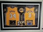 KOBE BRYANT 8 AND SHAQUILLE O'NEAL 34 LA LAKERS AUTOGRAPHED FRAMED JERSEY W/ COA