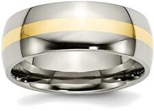 Titanium w/ 14K Yellow Gold Inlay 8mm Polished Band Ring