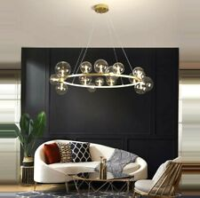 LUXURY ITALIAN MODERN RING GOLD BLACK LIGHT CHANDELIER PENDANT GLASS BALLS 2021