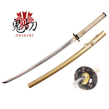 "Onikiri 41.25"" HANDMADE GOLD Samurai Katana Sword w/ BUSHIDO SAMURAI TSUBA"