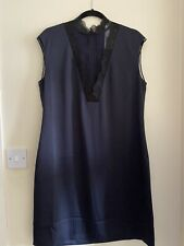 TED BAKER navy blue black embroidered lace Aline tunic shift dress Size 4 14 16