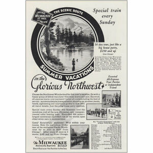 1930 Milwaukee Road: Glorious Northwest Special Train Vintage Print Ad