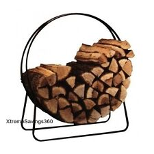Log Rack Storage Decorative Fire Wood Stack Holder Fire Place Steel Outdoor Bin