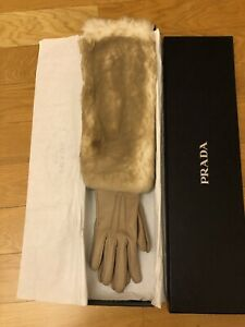 Lady PRADA beige leather gloves artificial fur Size 7.5 NEW RRP £900
