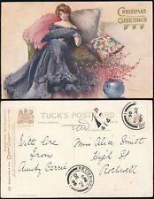 POSTAGE DUE GB CHRISTMAS 1906 PPC GLAMOUR GREETINGS KETTERING to ROTHWELL