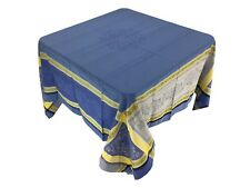 Jacquard Woven Centerguard Coated Tablecloth Olives Blue/Yellow 66 X 66 France