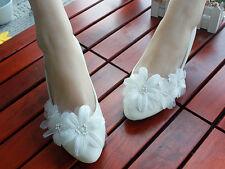 Decolté decolte scarpe donna ballerina bianco pizzo sposa 3.5, 4.5 8.5, 11 cm