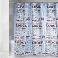 Fabric Shower Curtain Lake House WELCOME TO OUR LODGE Moose Cabin Camp Blue NEW
