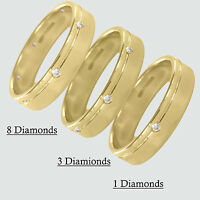 Hallmarked 9ct Yellow Gold Diamond Set Mens 5mm Wedding Rings Finger Size Q-Z+2