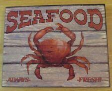 SEAFOOD Always Fresh Wood Sign w/ Crab