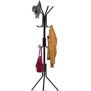 3 Tier 12 Hooks Metal Coat Hat Rack Free Standing Display Hall Tree Hanger 5.7FT