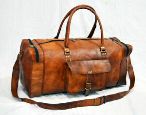 New Men's Genuine Leather luggage gym weekend overnight duffel large vintage bag
