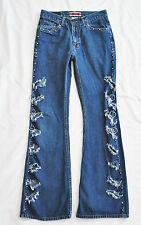 VTG Cavaricci HIPPIE Coachella Rock Denim Blue Destroyed Silver Rings Jeans 5