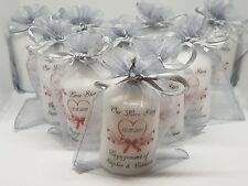 Personalised Wedding favour Candles 4cm x6cm with Organza Bag Packs of 10