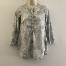 Fabindia women's small tunic top white speckled 3/4 sleeve henley