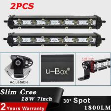 2x Super Slim 7inch 18W Cree LED Driving Work Lights Bar Spot Lamp Offroad SUV