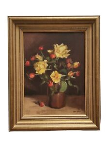 Framed Original Oil Painting  - Lyn Hahn - Yellow Roses