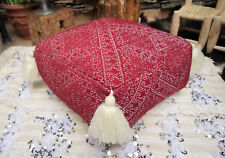 Vintage Moroccan Textile Ottoman Pouf Bohemian Tassel Floor Pillow 50 Year Old