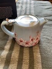 Alfred cherry blossom light blue ceramic and stainless steel 20 oz teapot Nib