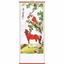 Chinese Printed Picture~Scroll~ Hanging~Feng Shui~Horse & Monkey~601~uk seller