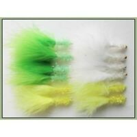 Trout Flies, 12 x Goldhead Fritz Lures Lime Yellow & White Size 10 Fishing flies