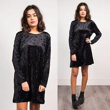 VINTAGE 90'S CRUSHED BLACK VELVET LONG SLEEVE DRESS SHIFT STYLE RETRO GOTH 16
