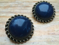 Earrings/Round Button/Stone Look/Retro 60's Look Vintage Style Big Blue Stud
