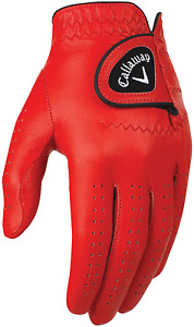 Callaway Golf Men'S Opticolor Leather Glove, Red, Small, Worn On Left Hand