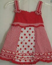 Baby Headquarters Sleeveless Red Polka Dots Cotton Dress Gingham Ruffles 24 M