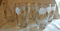 LIBBEY VINTAGE SET OF 6 WATER CLEAR GLASSES w/GOLD TRIM & BOWS WHITE ROSES