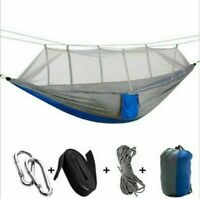 Double Camping Hammock with Mosquito Net Nylon Tent Hanging Bed Outdoor Portable