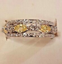 Sterling Silver Plated Yellow & White Topaz Gemstone Eternity Band Size 8
