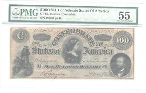T65  1864 $100  CSA  PMG 55 Havana Counterfeit