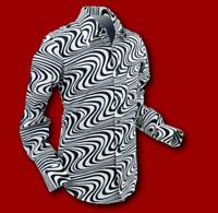 New men's Chenaski retro vintage style 60's/70'swavy cream /black  pattern shirt