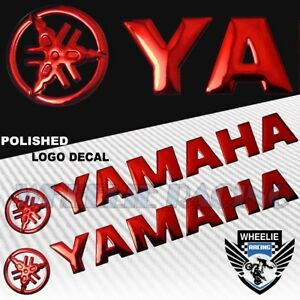 """2X 8"""" X 1.25"""" 3D POLISHED ABS/SHINY EMBLEM DECAL LOGO+LETTER STICKER YAMAHA RED"""