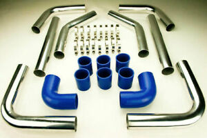 2.25 TURBO INTERCOOLER PIPE PIPING DIY KIT 57MM SILICONE BLUE