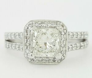 Scott Kay 1.38 ct Palladium Princess Cut Diamond Halo Engagement Ring GIA