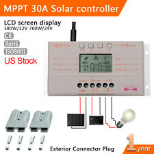 LCD 30A 12V/24V MPPT Solar Regulator Charge Controller + 2PCS 50AMP Plug MT