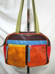 Handmade Medium Sz Retro Vinyl Multicolor Multi-pocket Shoulder Satchel Handbag