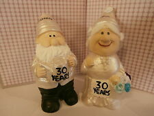 "30th pearl wedding anniversary mr and mrs gift gnome figurines ""personalised"""