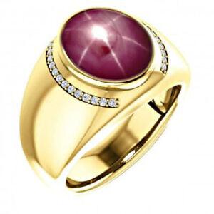 14K Solid Yellow Gold Natural Star Ruby Diamond Gemstone Men's Ring