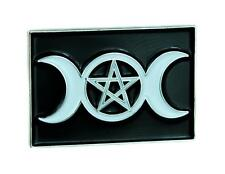 Triple Moon Goddess Wicca Pentagram Lapel Pin Gothic Jewelry Witchcraft Jacket