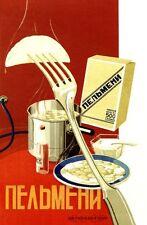 1930's SOVIETICA URSS Russia pelmeni farina Pubblicità Poster A3 RISTAMPA