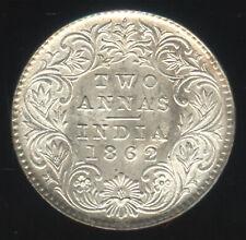 British India 1862 C 15.3 mm Victoria Silver 2 anna perfect BU RARE